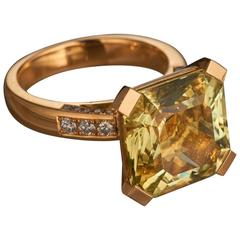 Fine Special Cut Yellow Beryl 18K Gold Cocktail Ring