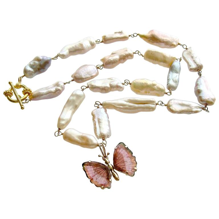 Pink Biwa Pearls Pink Tourmaline Gold Butterfly Necklace For Sale