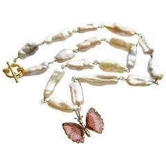 Pink Biwa Pearls Pink Tourmaline Gold Butterfly Necklace