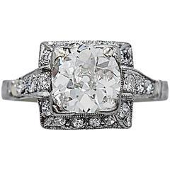 Art Deco 1.75 Carat Diamond Platinum Engagement Ring