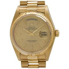 Rolex Yellow Gold Day Date President Wristwatch Model 18038, circa 1982