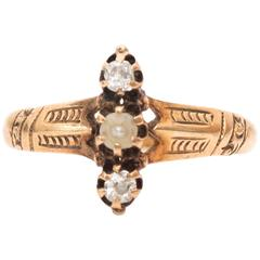 1890s Old Cut Diamond, Pearl and 9 Karat Gold Ring