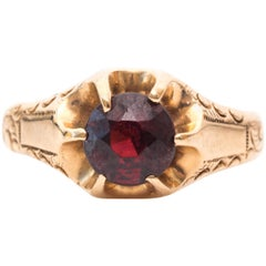1890s Red Stone and Gold Cocktail Ring
