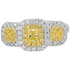 Natural Fancy Yellow White Diamond Double Halo Two Color Gold Ring