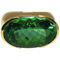 Fine Vivid Green Tourmaline 18k Gold Cocktail Ring