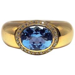 Fine Aquamarine 18K Gold Ring