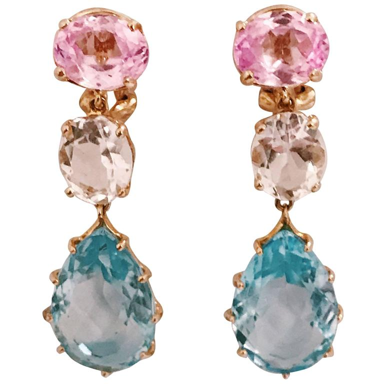 Pink Topaz Rock Crystal Blue Topaz Yellow Gold Three Stone Drop Earrings For Sale