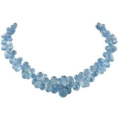 Graduated Aquamarine White Gold Choker Necklace