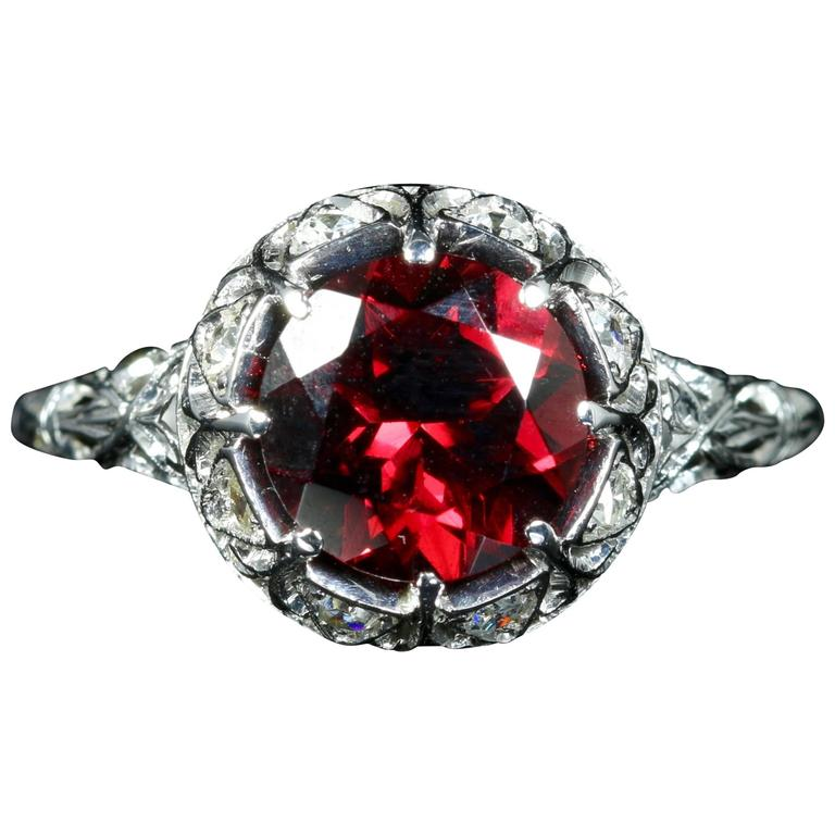 Antique Edwardian Platinum Garnet Diamond Ring, circa 1920 For Sale