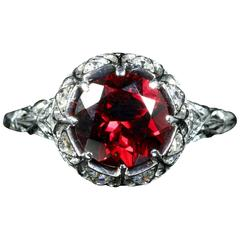 Antique Edwardian Platinum Garnet Diamond Ring, circa 1920