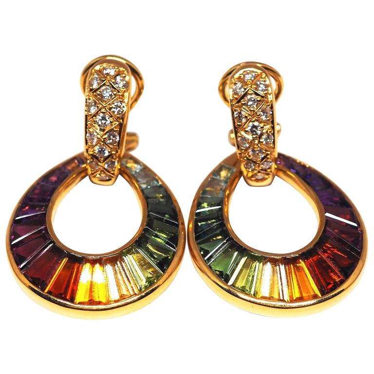 Fine Multi-Coloroured Rainbow Gemstones  18K Yellow Gold Earrings