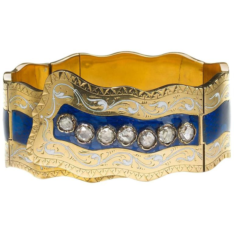 Victorian Enamel Diamond Gold Bangle Bracelet
