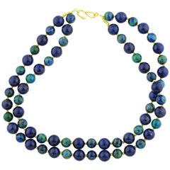Lapis Lazuli and Chrysocolla Unique Necklace