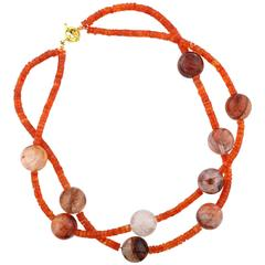 Carnelian and Strawberry Quartz Necklace