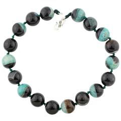 Natural Greenish Blue and Black Agate Necklace