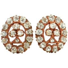 Victorian Old Mine Cut Diamond Rose Gold Earrings