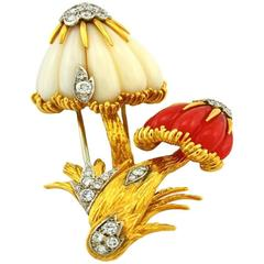 Van Cleef & Arpels Coral Diamond Gold Mushroom Brooch