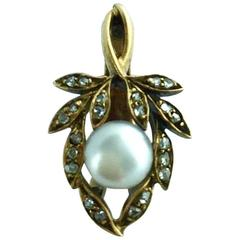Antique Natural Pearl Diamond Gold Flower Pendant