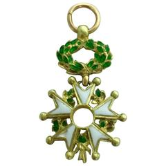 French 1900s Legion of Honor Enameled Gold Charm
