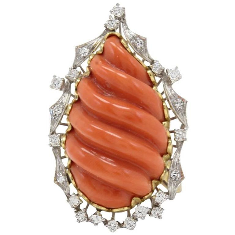 Coral Diamond Gold Cluster Ring