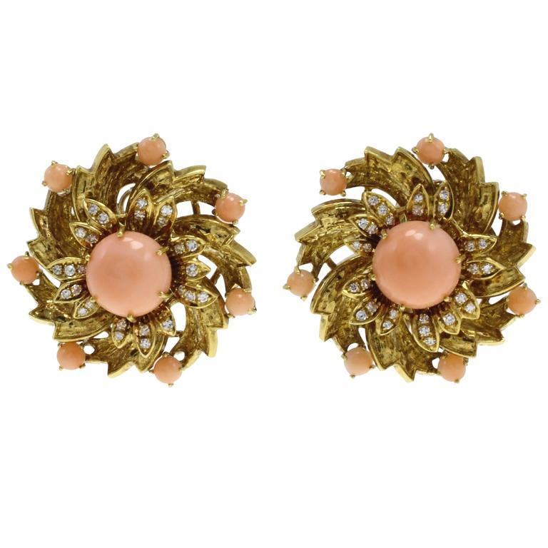 Luise Gold Diamond Coral Clip-On Earrings