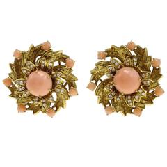 Gold Diamond Coral Clip-On Earrings