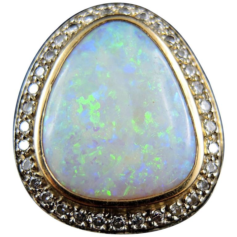 Opal and Diamonds Cocktail Ring, White and Yellow Gold, France