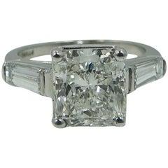 4.82 Carat Radiant Cut GIA Diamond Platinum Engagement Ring