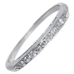 1930s Art Deco .15 Carat Diamonds Platinum Wedding Band Ring