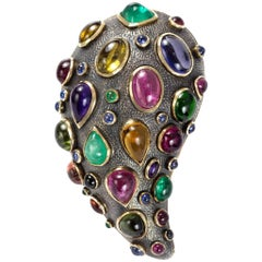 Marilyn Cooperman Multi-Gem, Gold and Oxidized Sterling Silver Brooch