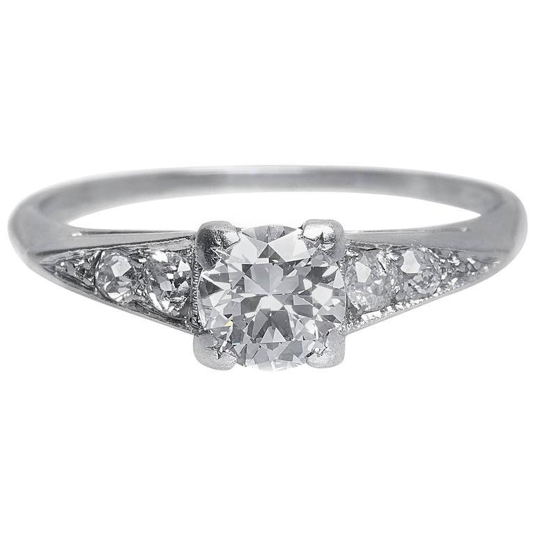 3d429c22d2 1930s Art Deco .60 Carat Old European Cut Diamond Platinum Engagement Ring  For Sale