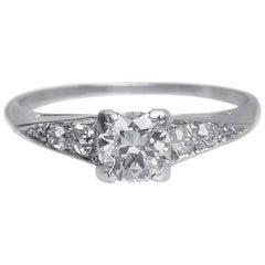 1930s Art Deco .60 Carat Old European Cut Diamond Platinum Engagement Ring