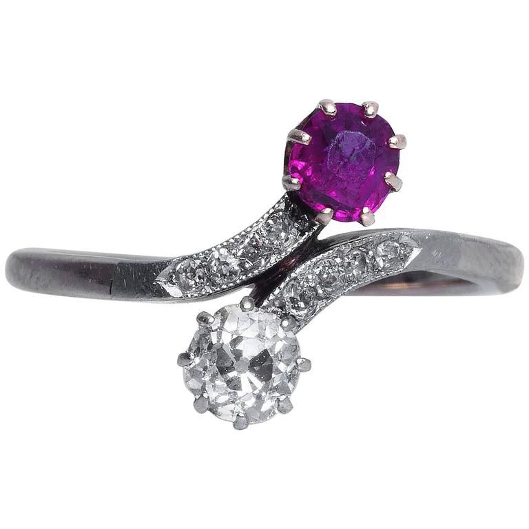 1890s Ruby Diamond Yellow Gold Platinum Toi et Moi Engagement Ring