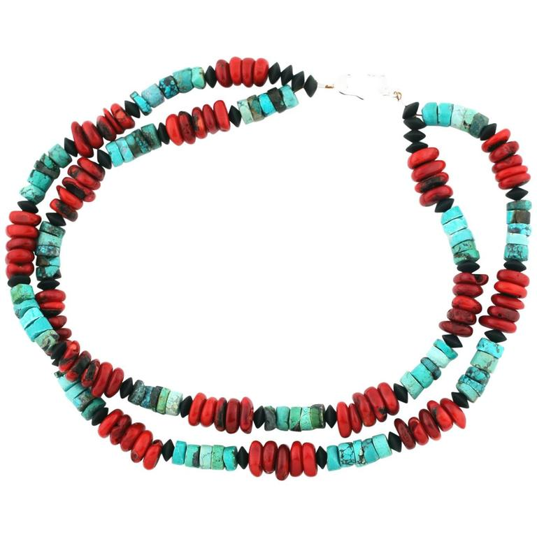 Handmade Turquoise and Coral Necklace For Sale