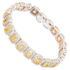 Fancy Yellow Diamond Platinum Tennis Bracelet