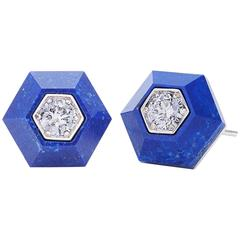 Fred Leighton Lapis and Diamond Hexagonal Stud Earrings