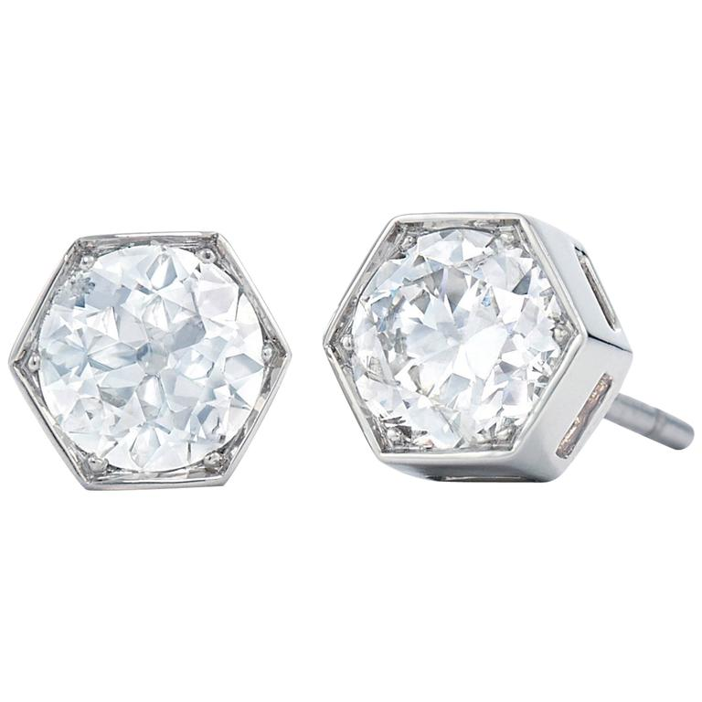 Fred Leighton Old European Cut Diamond Hexagonal Stud Earrings For Sale