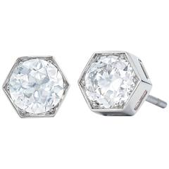 Fred Leighton Old European Cut Diamond Hexagonal Stud Earrings