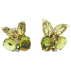 Peridot Carved Gold Earrings