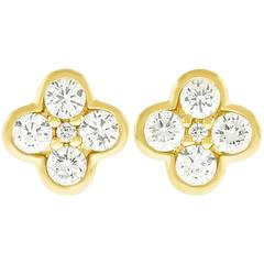 Diamond-Set Yellow Gold Clover Earrings