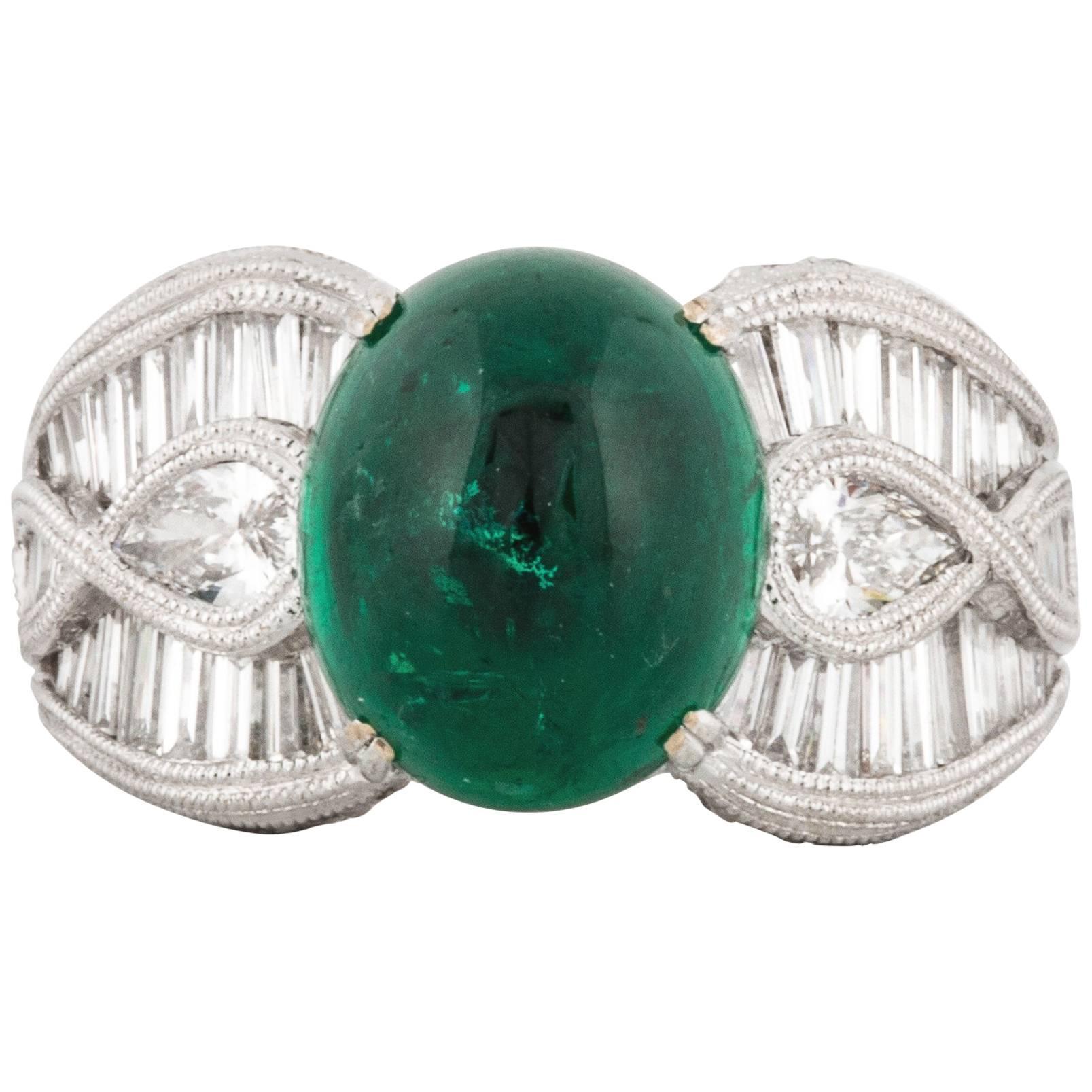 Cabochon Emerald and Diamond 18K White Gold Ring