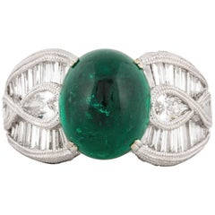 Cabochon Emerald and Diamond 18K White Gold Ring