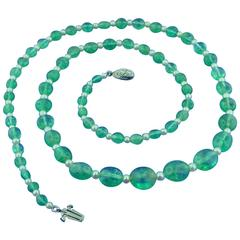 J.E. Caldwell Pearl Emerald Bead Necklace