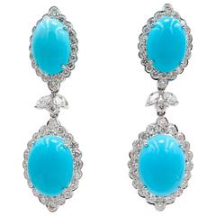 Turquoise Gold Drop Earrings