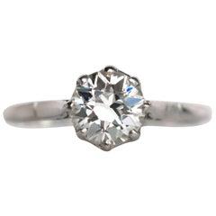 1920s Art Deco GIA Certified 1.08 Carat Diamond Platinum Engagement Ring