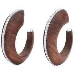 Fred Leighton Rosewood and Diamond Line Hoop Earrings