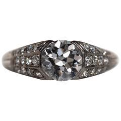 1920s Art Deco 1.18 Carat Diamond Platinum Engagement Ring