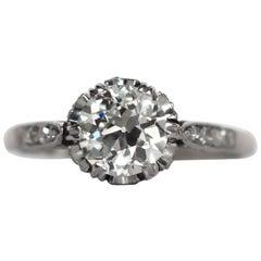 1920s Art Deco GIA Certified 1.15 Carat Diamond Platinum Engagement Ring