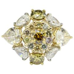 Natural Fancy Multicolored 5 Carat Diamond Gold Platinum Ring
