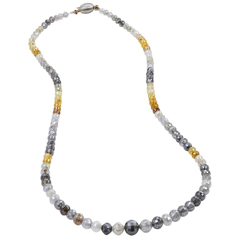 73.65 Carat Fancy Diamond Bead Necklace 1